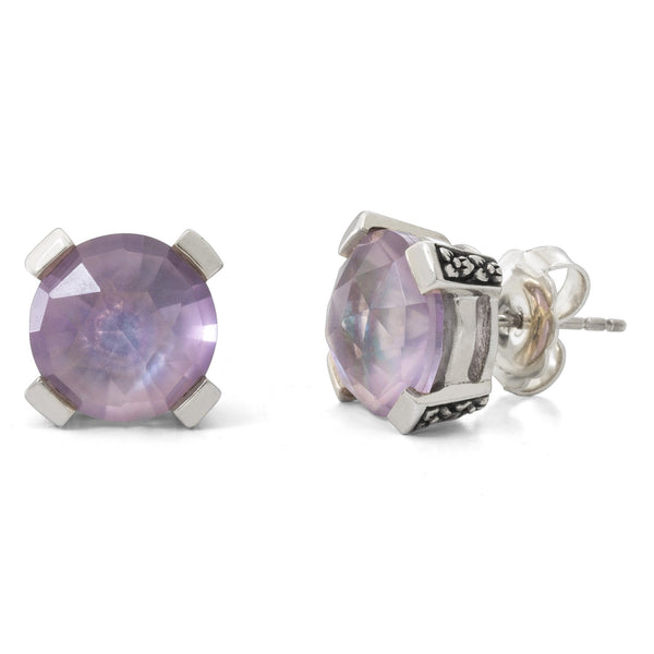 Pink Amethyst Stud Earring, 12 mm - Stephen Dweck Jewelry