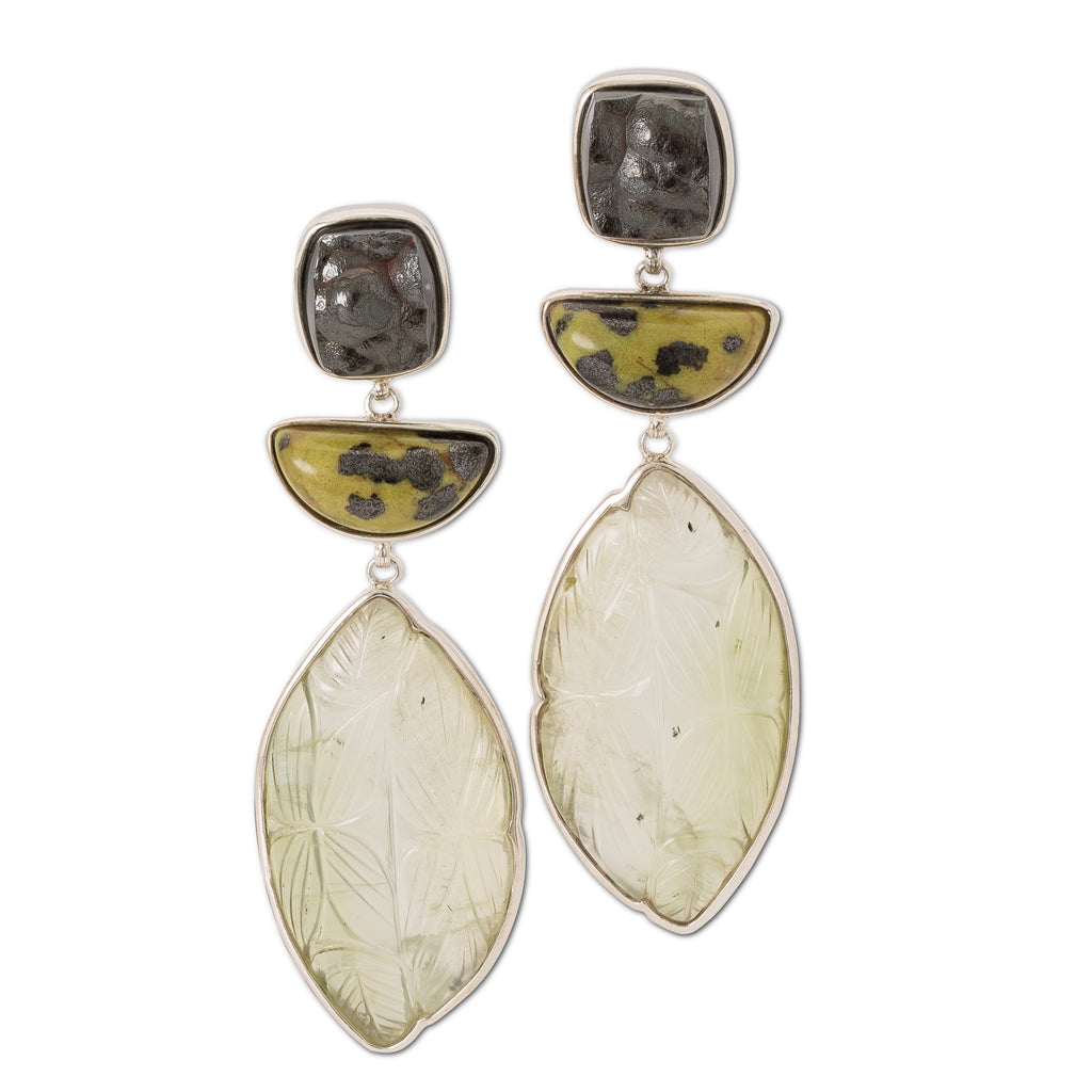OAK-31629: Carved Hematite, Jasper and Carved Prehnite Earrings