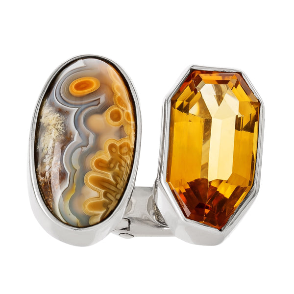 OAK-34031: Citrine and Crazy Lace Agate Ring