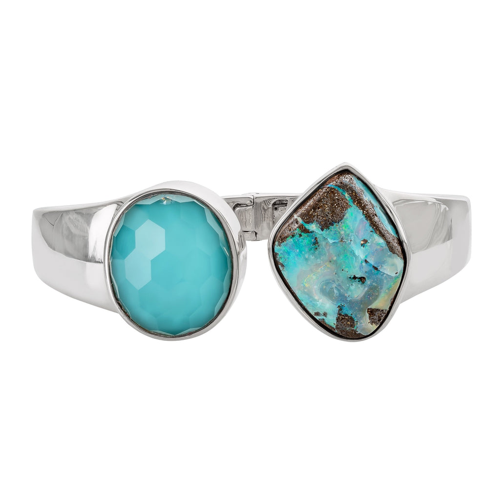 OAK-33918: Boulder Opal and Turquoise Bangle