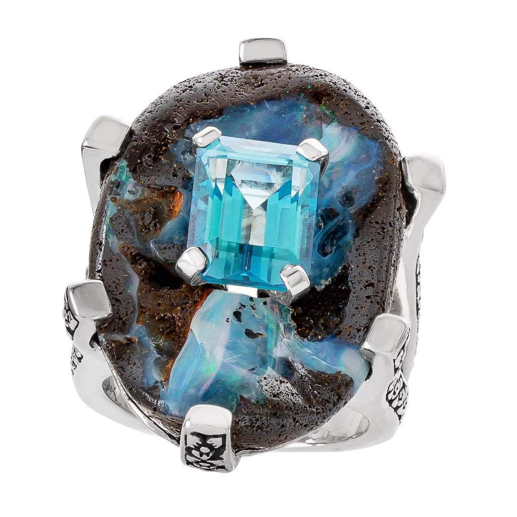 OAK-33245: Boulder Opal and Swiss Blue Topaz Gemstone Ring