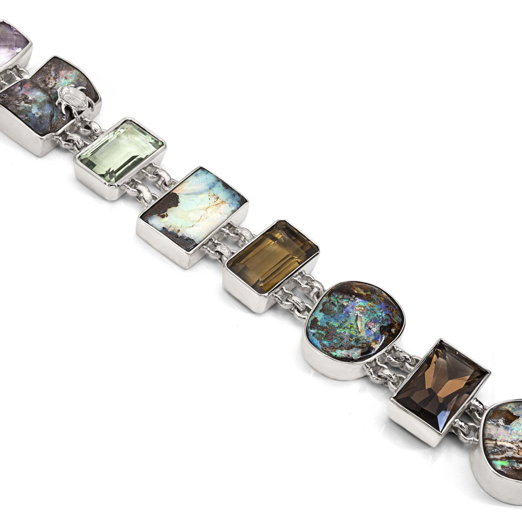 OAK-37036: Boulder Opal, Amethyst, and Smoky Quartz Multi-gemstone Bracelet