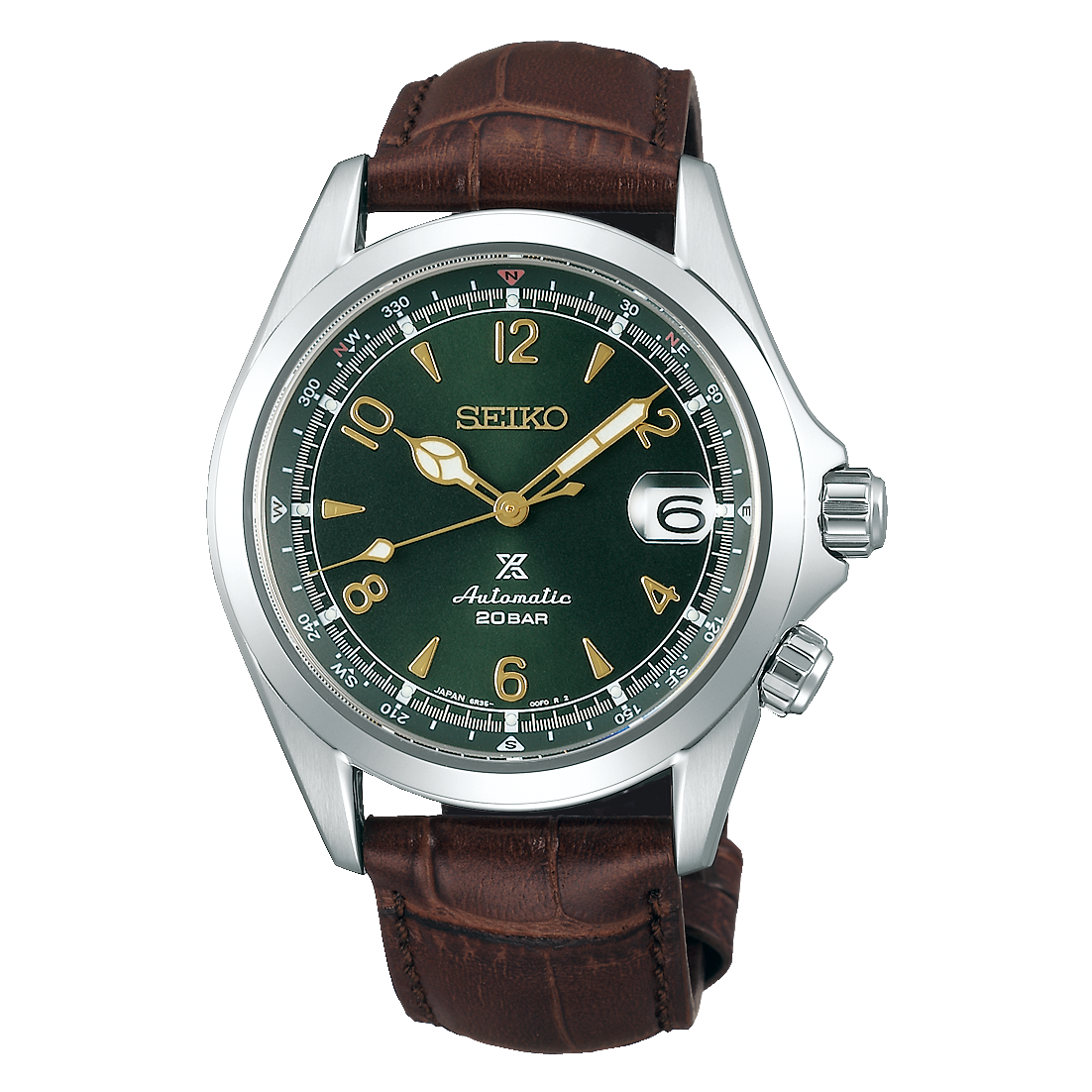 Seiko Alpinist SPB121 Green Dial Leather Strap