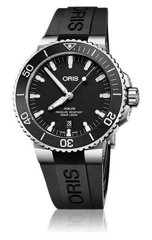Oris Aquis Date Black Dial on Rubber Strap