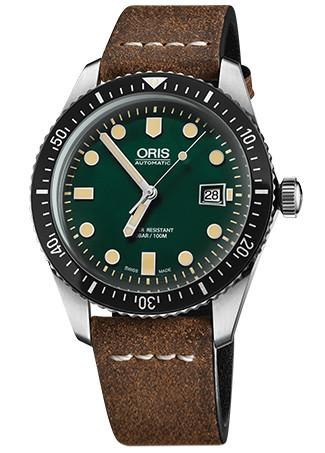 Oris Divers Sixty-Five Green Dial Leather Band Dive Watch