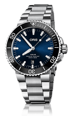 Oris Aquis Date Black and Dark Blue 43mm Dive Watch Stainless Steel - DePaulas