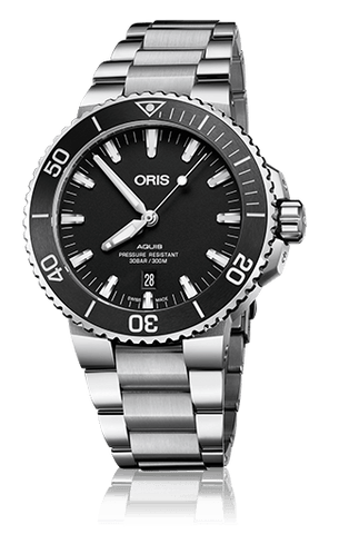 Oris Aquis Date Black 43mm Dive Watch Stainless Steel Band - DePaulas