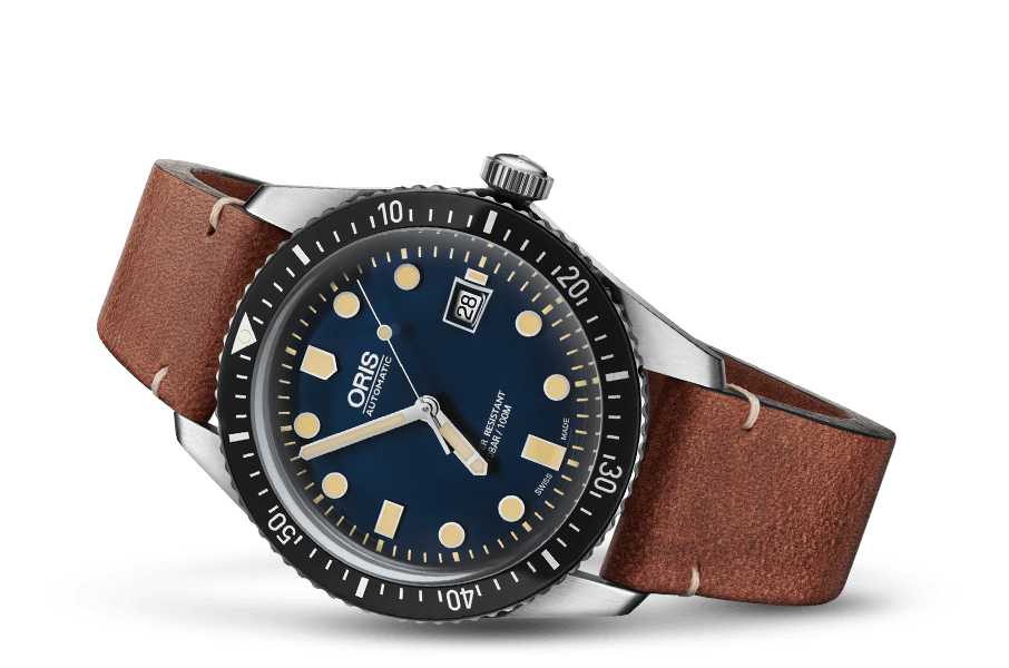 Oris Divers Sixty-Five Blue Dial Leather Band Dive Watch - DePaulas