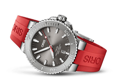 Oris Aquis Date Relief Red Rubber 43mm Dive Watch - DePaulas