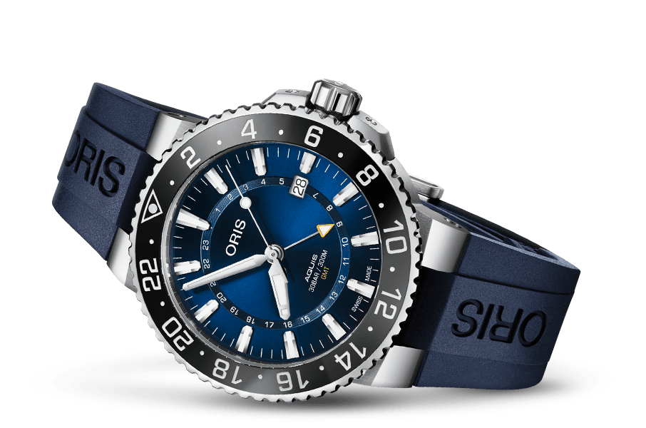Oris Aquis GMT Blue Face Stainless Steel Blue Rubber Band Dive Watch - DePaulas