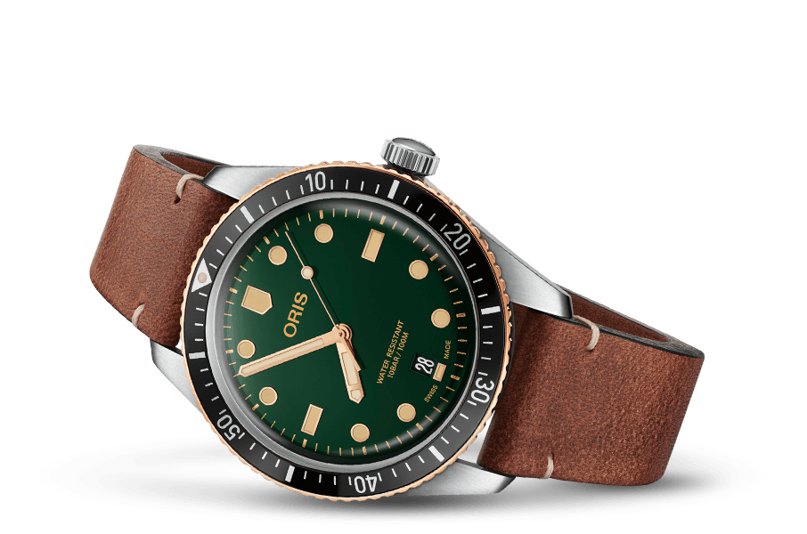 Oris Divers Sixty-Five Green Dial Bronze Bezel Leather Band Dive Watch - DePaulas