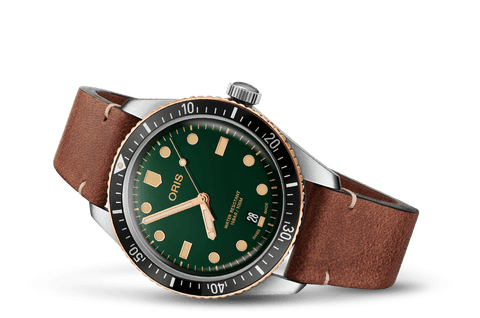 Oris Divers Sixty-Five Green Dial Bronze Bezel Leather Band Dive Watch