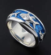 Sterling Silver 3 Offshore Fish Blue Enamel Wedding Band Ring