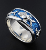 Sterling Silver 5 Offshore Fish Blue Enamel Wedding Band Ring
