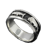Sterling Silver 5 Offshore Fish Antiqued Wedding Band Ring