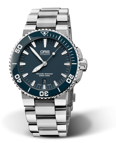 Oris Aquis Date Blue 43mm Dive Watch Stainless Steel Band