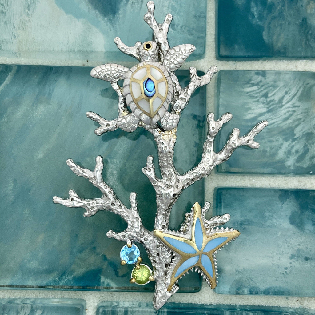 925 and 18k Gold Plating Reef Scene With Turtle and Starfish Kovel Collection Pendant - DePaulas