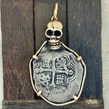 4 Reales Mexico Mint Salvage Camp Find 14k Yellow Gold Skull Bezel Treasure Coin Pendant