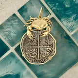 4 Reales Spain Mint Dated Circa 1580-1625 14k Yellow Gold Bezel With Crab Treasure Coin Pendant