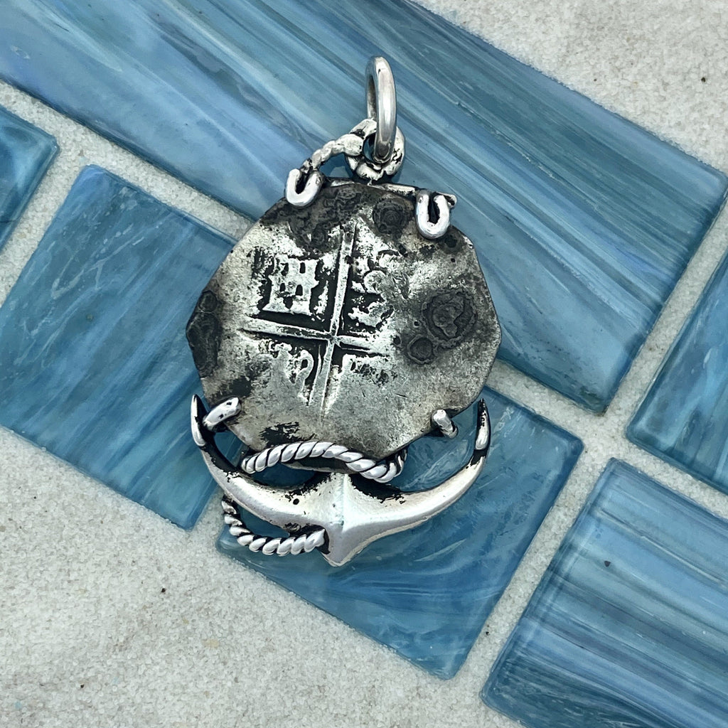 2 Reales Spain Mint 925 Sterling Silver Anchor Bezel Treasure Coin Pendant - DePaulas