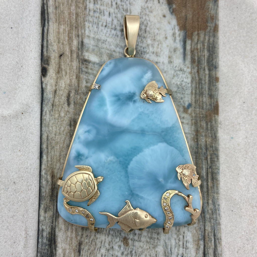 14k Yellow Gold Large Larimar With Sea Life and Diamonds Pendant - DePaulas