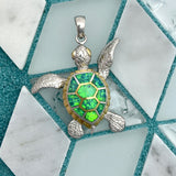 925 and 18k Gold Plating Synthetic Opal Movable Turtle Kovel Collection Pendant