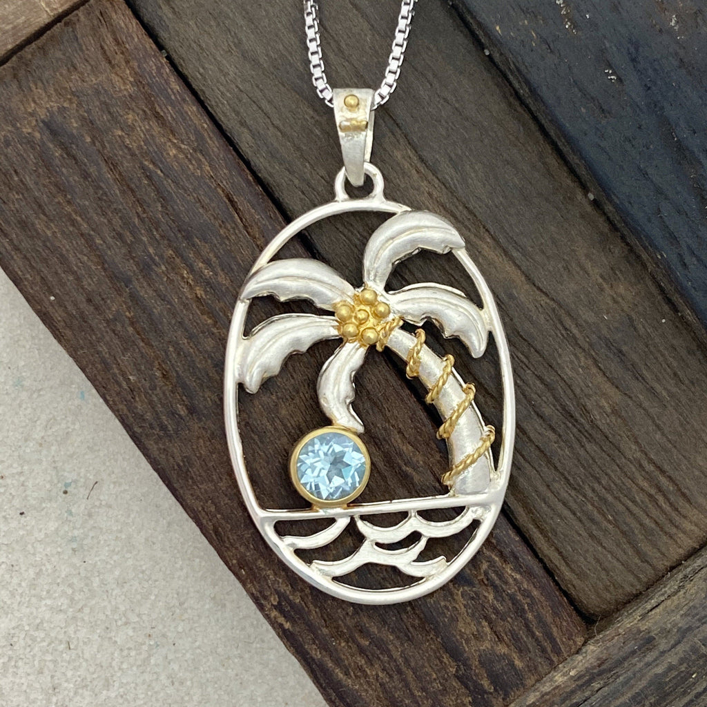925 Sterling Silver with 22k Vermeil Palm Tree with Blue Topaz Necklace - DePaulas