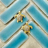 14k 2-Tone Diamond Cut Turtle Post Earrings
