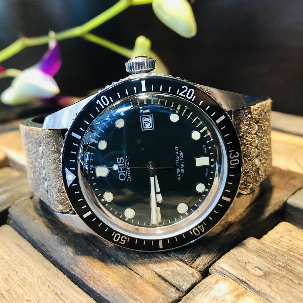 Oris Divers Sixty-Five Green Dial Leather Band Dive Watch - DePaulas