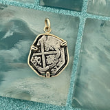 2 Reales Spain Mint 14k Yellow Gold Bezel Treasure Coin Pendant