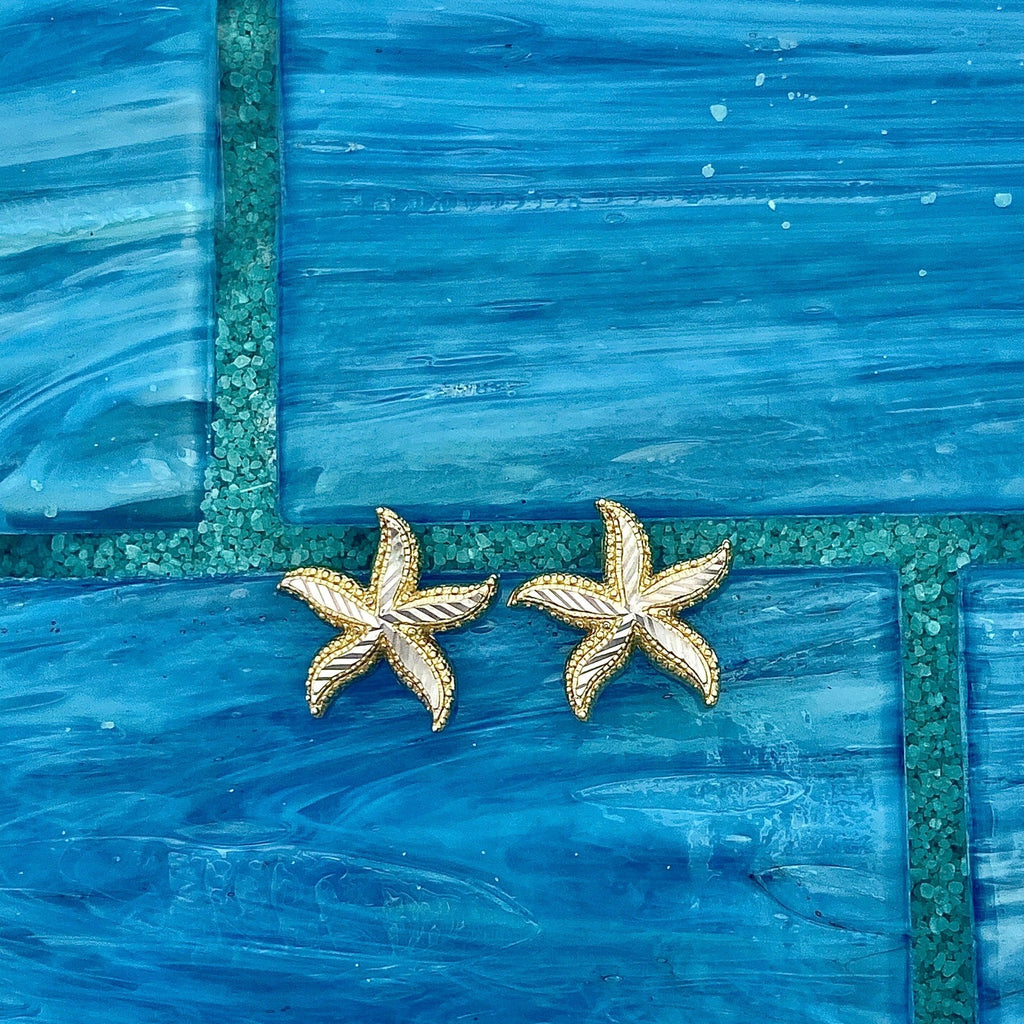 14k 2-Tone Diamond Cut Starfish Post Earrings - DePaulas