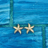 14k 2-Tone Diamond Cut Starfish Post Earrings
