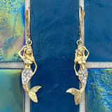 14k 2-Tone Mermaid with Diamond .12cttw Tail Leverback Earrings