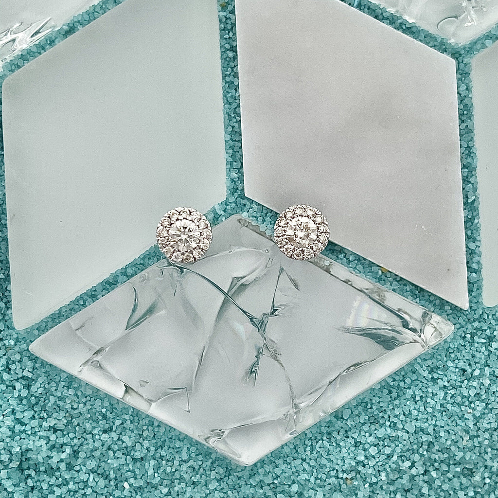 14k White Gold Diamond Halo .30cttw Post Earrings - DePaulas