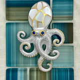 925 and 18k Gold Plating Mother Of Pearl Octopus Kovel Collection Pendant