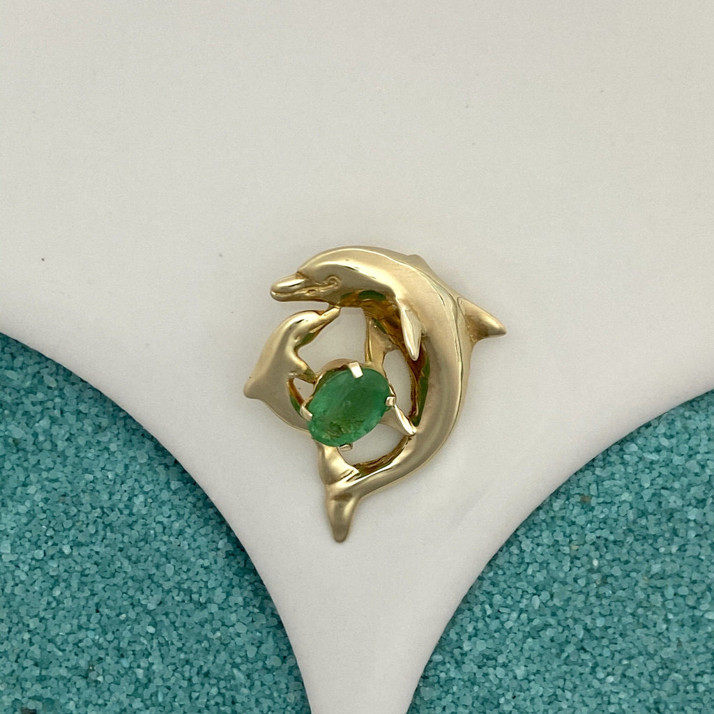 14k Yellow Gold Mom And Baby Dolphin With Emerald .86ct Pendant - DePaulas