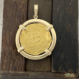 2 Escudo Spain Mint Dated Circa 1556-1598 14k Yellow Gold Bezel Treasure Coin Pendant