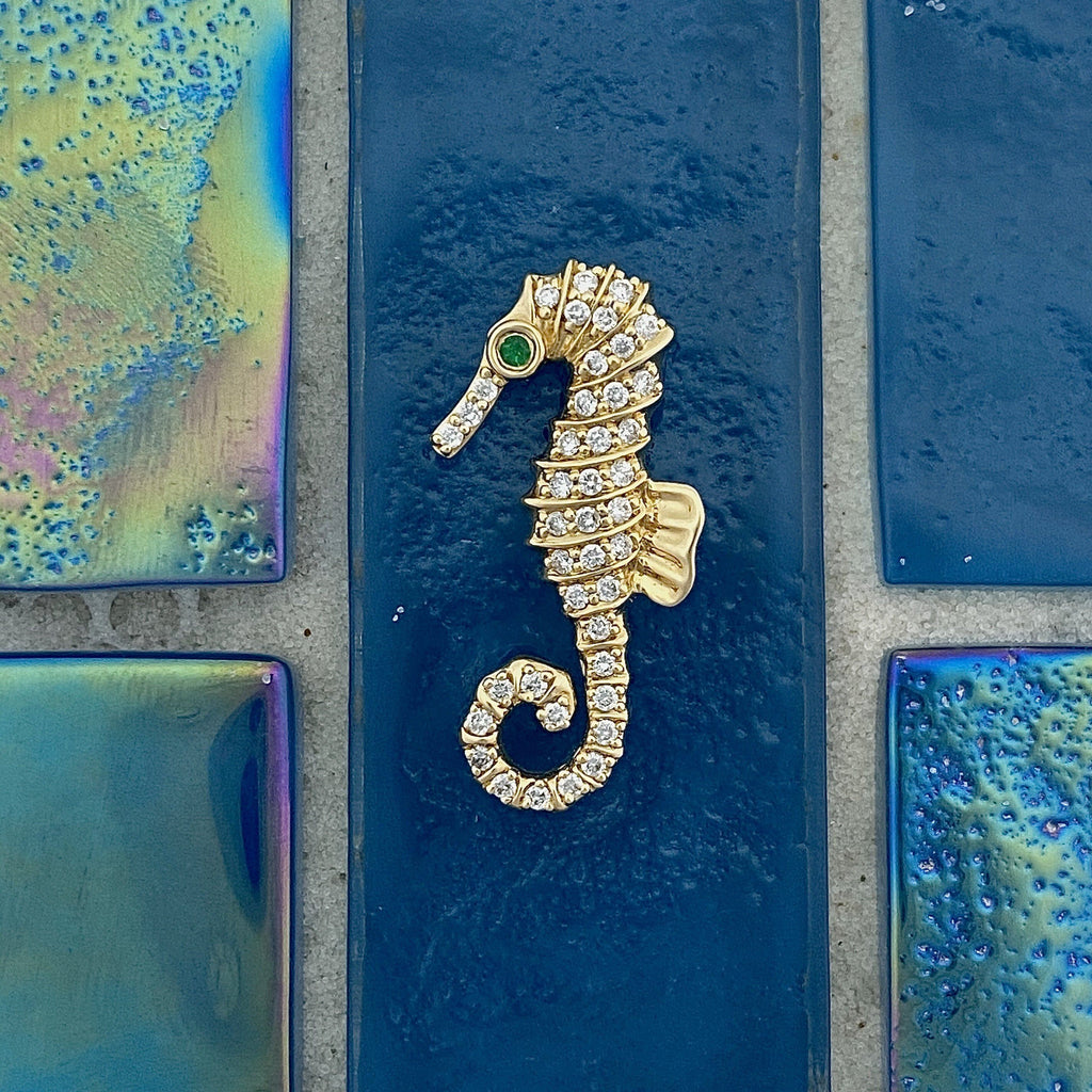 14k Yellow Gold Seahorse with Diamonds .28cttw and Emerald Eye .01ct Pendant - DePaulas