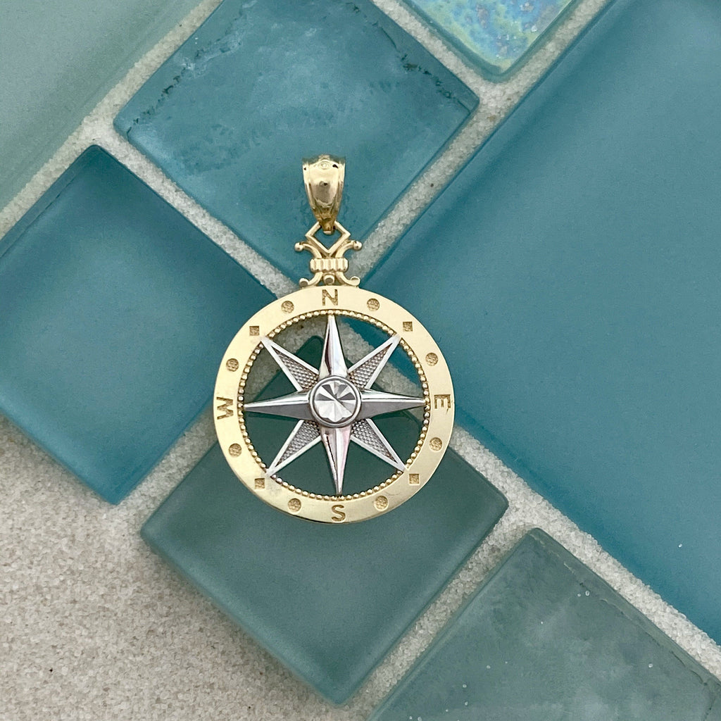 14k 2-Tone Medium Compass Rose Pendant - DePaulas