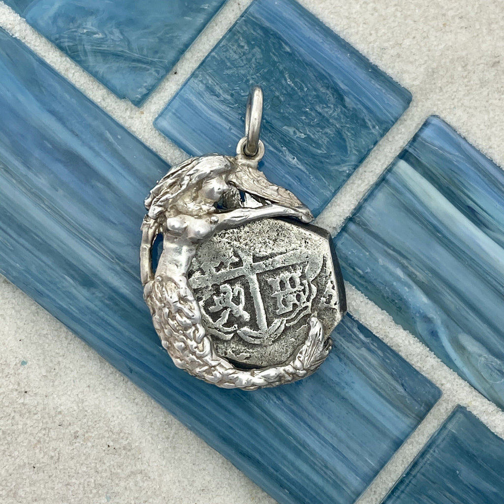 2 Reales Seville, Spain 925 Sterling Silver Mermaid Bezel Treasure Coin Pendant - DePaulas