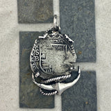 2 Reales Spain Mint Assayer B 925 Sterling Silver Bezel Treasure Coin Pendant