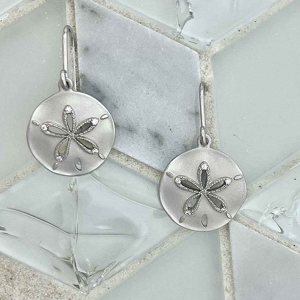 925 Sterling Silver Sand Dollar with Cubic Zirconia French Wire Earrings - DePaulas