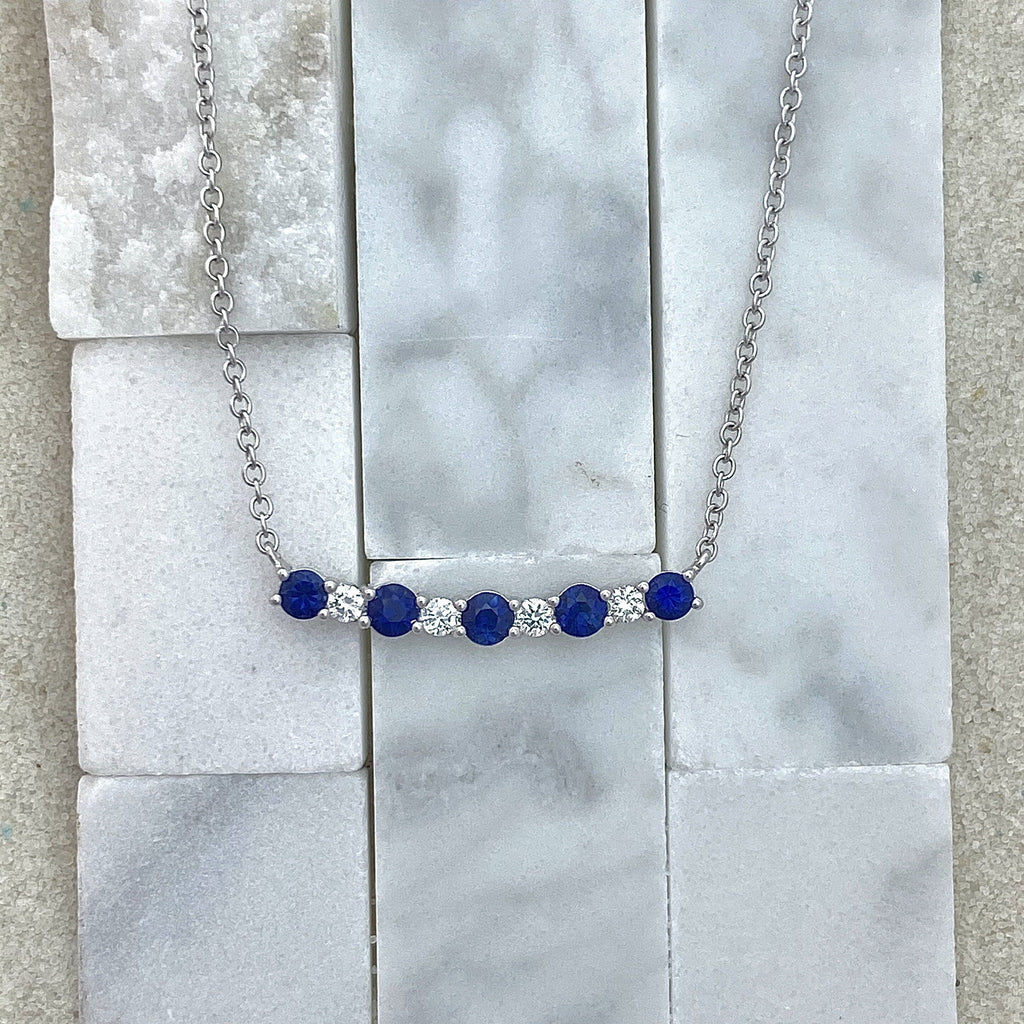 14k White Gold Diamond .12cttw and Sapphire .58cttw Bar Necklace - DePaulas