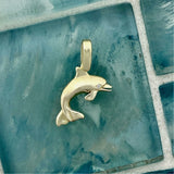 14k Yellow Gold Dolphin With Diamond Eye .01ct Pendant