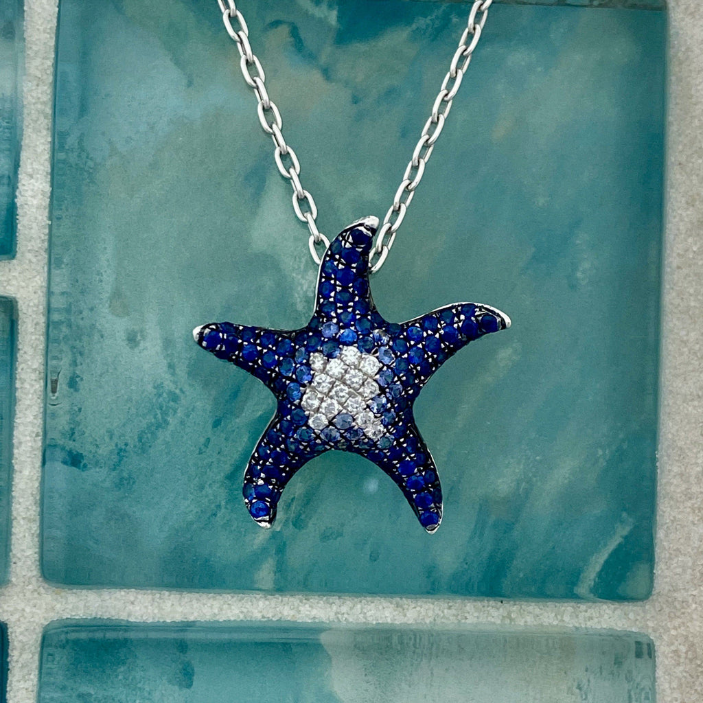 18k White Gold Sapphire 1.39cttw And Diamond .15cttw Starfish Necklace - DePaulas