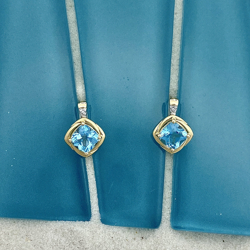 14k Yellow Gold Cushion Cut Blue Topaz with Diamond Accent Post Earrings - DePaulas