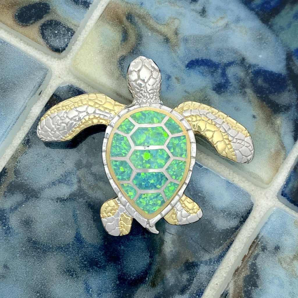 925 and 18k Gold Plating Synthetic Opal Turtle Kovel Collection Pendant - DePaulas