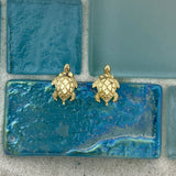 14k Yellow Gold Diamond Cut Small Turtle Post Earrings