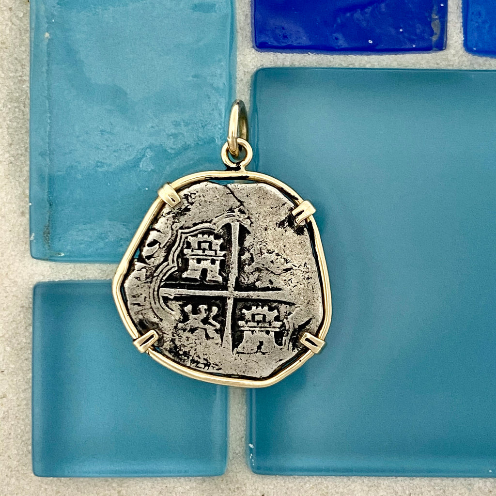 2 Reales Spain Mint Assayer B 14k Yellow Gold Bezel Treasure Coin Pendant