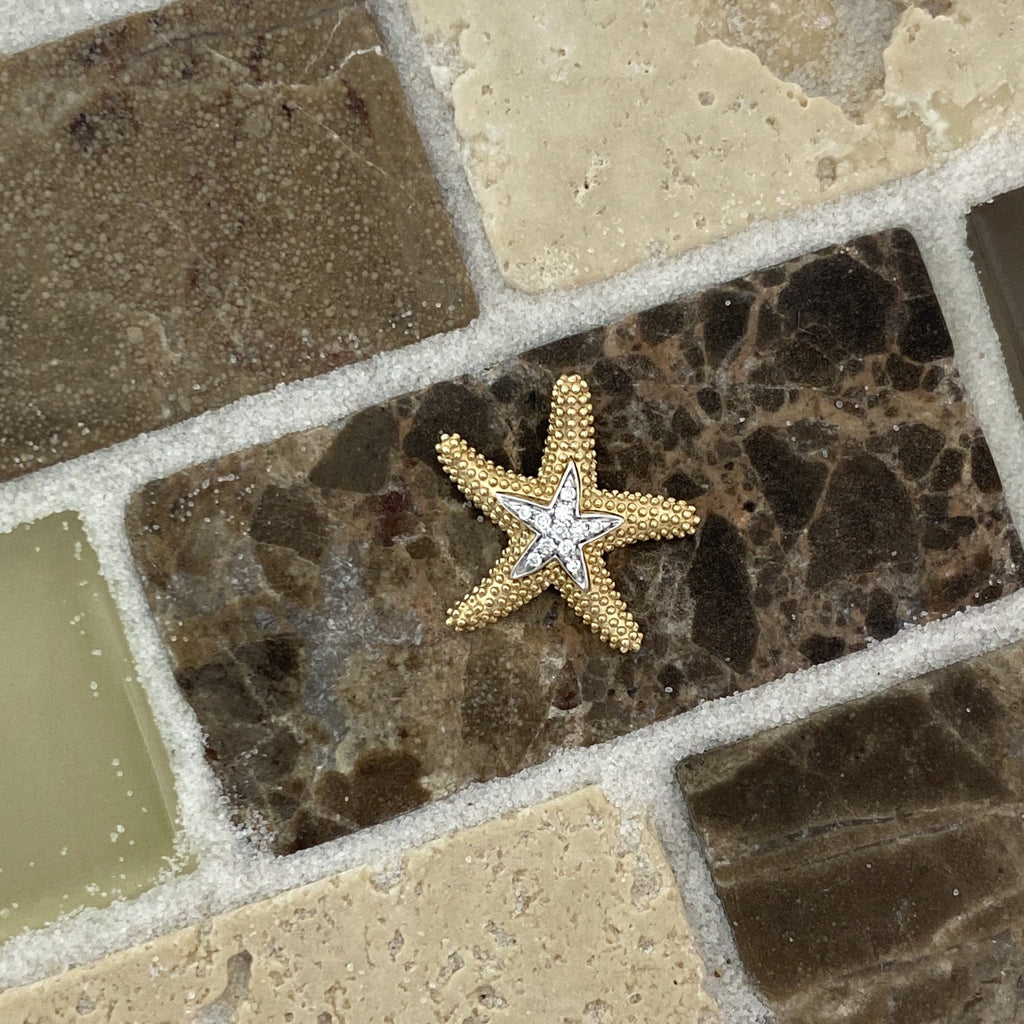 14k 2-Tone Diamond .04ct Starfish Pendant - DePaulas